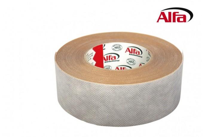 156 Alfa®SP-Tape Ruban adhésif extrêmement adhérente en fibres, pour fixer les jonctions et joints de socles et plinthes ( coutures). Elle permet une pose rapide et des jonctions parfaites  des coutures de socles et plinthes en textile et moquette