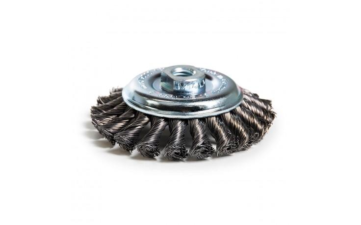 Brosse conique torsadée avec fil d'acier à haute résistance et support M14
