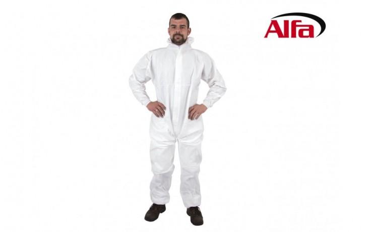906 ALFA  Combinaison de protection blanche, spéciale chimie pour PROFESSIONNELS (Amiante), avec tirette et capuchon