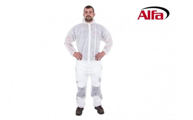 905 ALFA PP Combinaison blanche en PP – á utilisation unique protège contre les poussières fines avec tirette et capuchon, idéal pour peintre, affûteur et travaux de nettoyage.