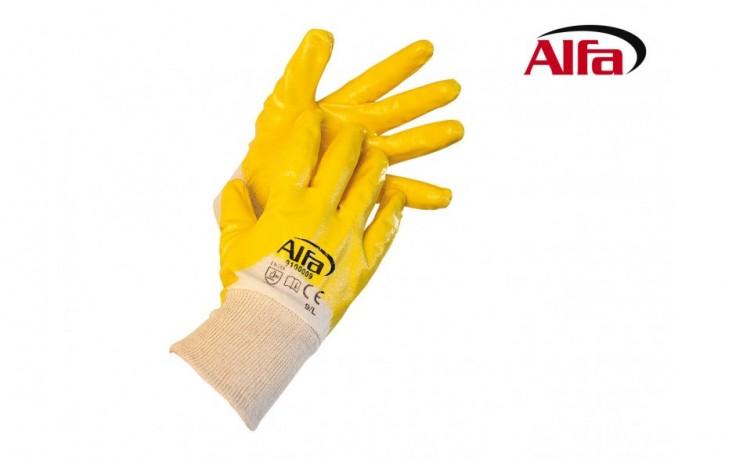 910 ALFA Gants en coton (revêtus de Nitrile) pour travailler les matériaux fluides