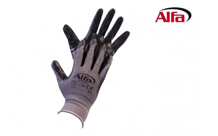 873 ALFA - Gants en tricot fin avec couche de nitrile