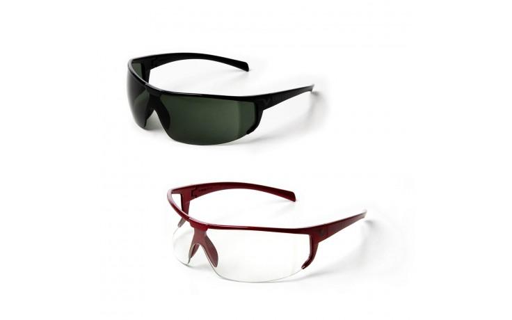 Lunette de protection monture moderne rouge/noir vernis et verres clair/teintés