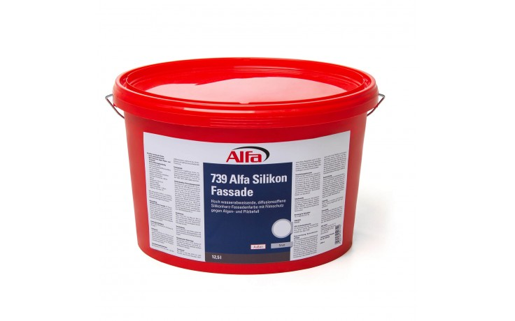 Peinture à base de résine silicone pour façades, algicide et fongicide, à diffusion ouverte, hautement hydrofuge