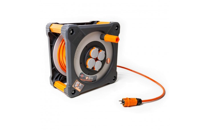 Enrouleur de câble extrêmement robuste et confortable avec indicateur de disponibilité pour une utilisation permanente dans les conditions les plus difficiles
