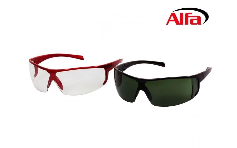 8612085b939fa0 Lunette de protection monture moderne rouge noir vernis et verres clair  teintés