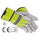 918 ALFA Lederhandschuhe Winter aus Ziegenvollleder mit gelb leuchtenden Reflexstreifen. Bietet einen hohen Tragekomfort und sehr guten Kälteschutz.