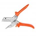 Ciseaux à onglets professionnels de haute qualité avec lame trapézoïdale filigrane, butées à 45° et indicateur d'angle