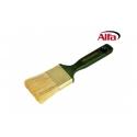 Brosse plate queue de morue qualitée professionnelle manche en bois vernis vert, pour vernir
