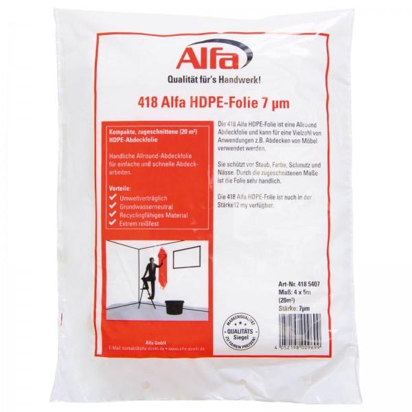 418 ALFA - Bâche protection peinture en HDPE 7 µm / 12 µm - pour intérieur et extérieur