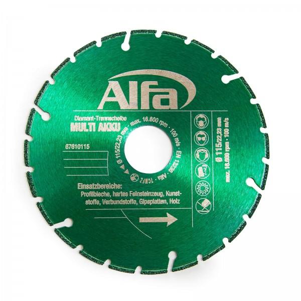 6761 Alfa Disque à tronçonner diamanté MULTI AKKU